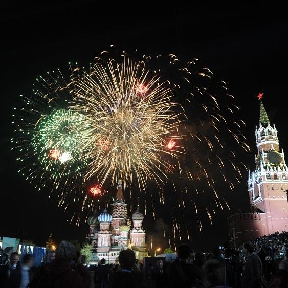 Салют на День Победы на Красной площади